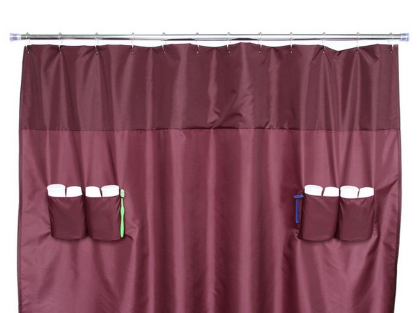 Shower curtain with storage