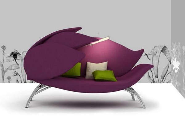 modern purple lily flower sofa