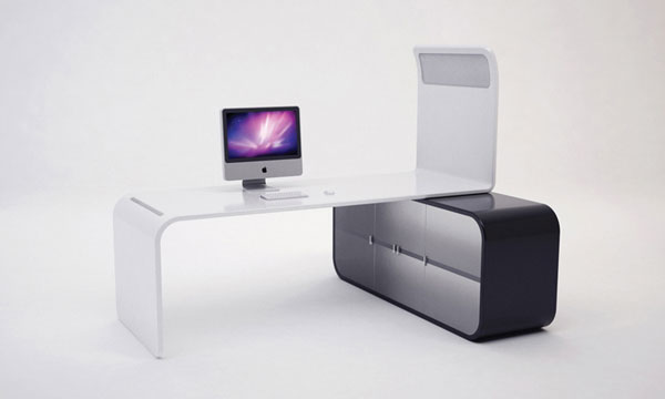 minimalist sunset office workstation