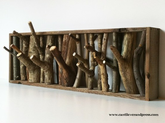 Tree branch coat hanger