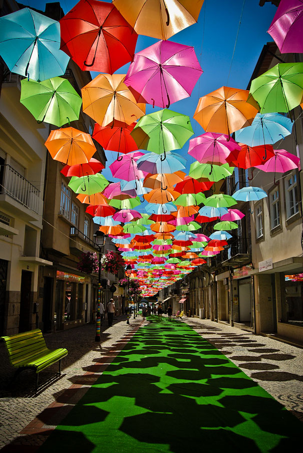 Great colorful floating umbrellas decoration in Agueda, Portugal.3