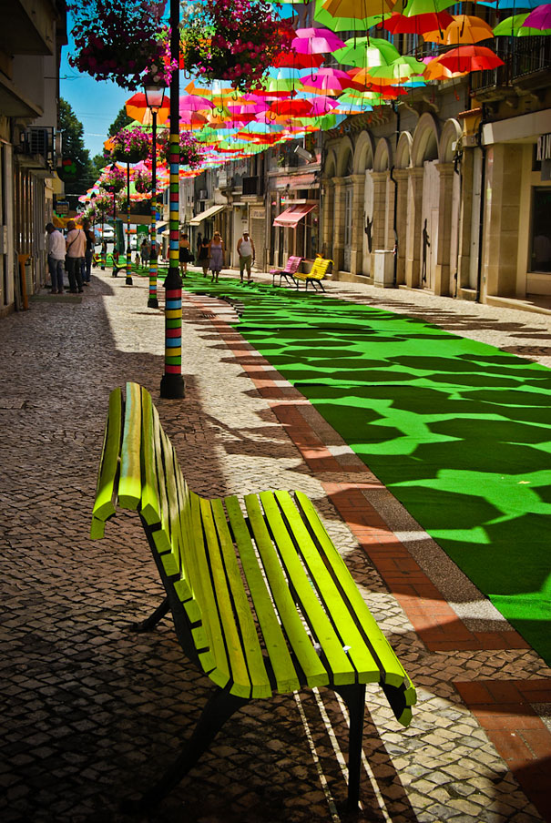 Great Colorful Floating Umbrellas Decoration In Agueda