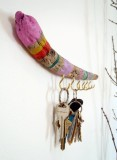 colorful driftwood key holder