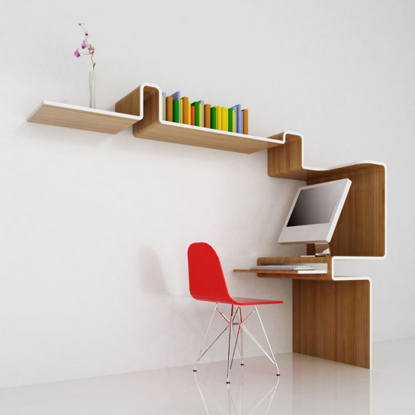 K Workstation bookcase and office desk all in one