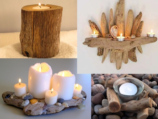 Diy driftwood candles
