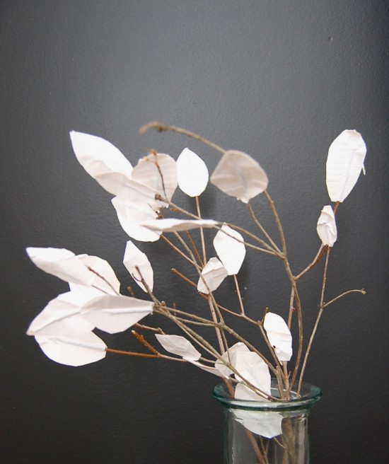 Winter branches & leaves with sticky tape