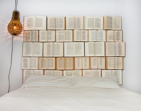 diy headboard for the bed made of old books my desired home