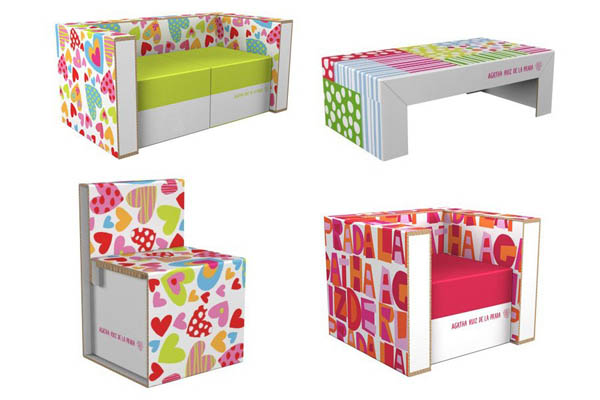 Modern furniture made from cardboard