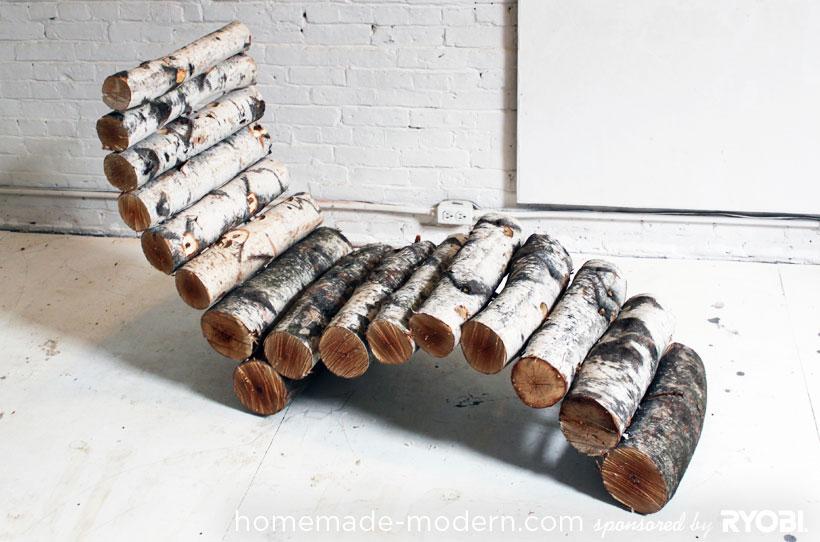 Diy log lounge chair6