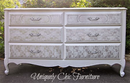 Transform old furniture with lace and spray 4