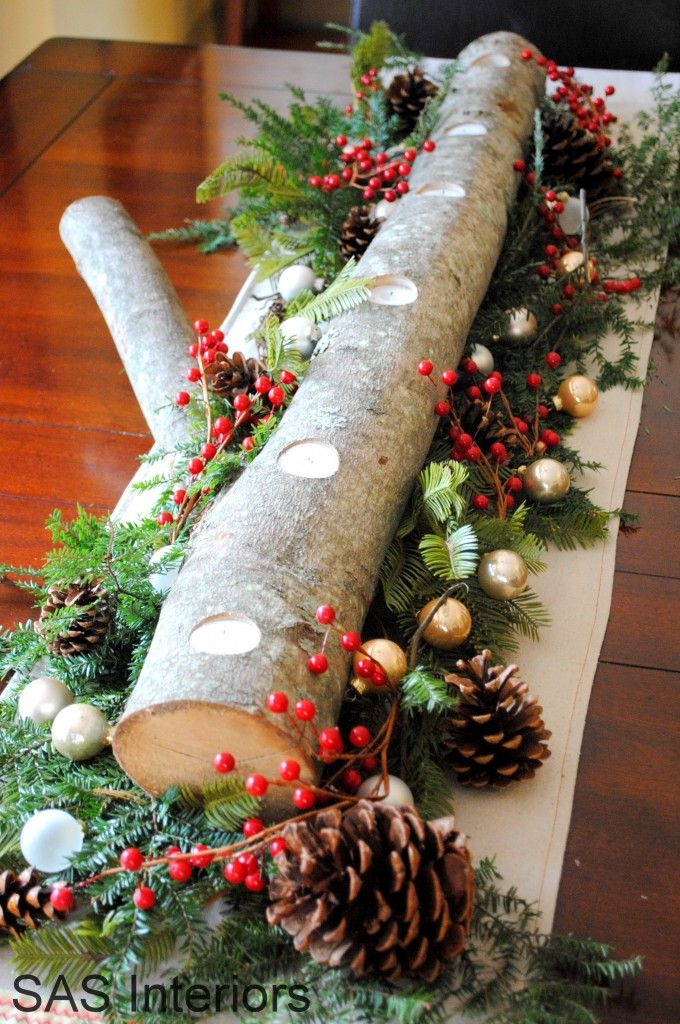 Christmas decoration with a log