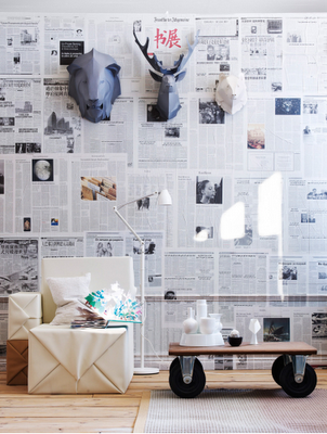 Decorate a wall with newspaper3