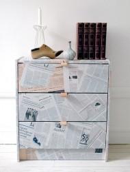 Newspaper Decoupage Furniture Technique