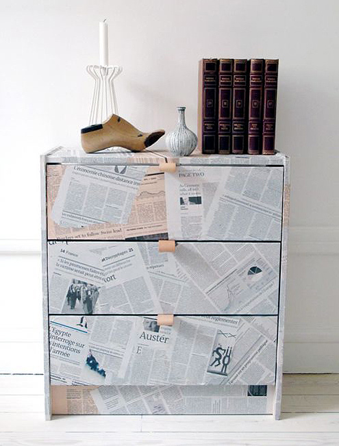 Newspaper Decoupage Furniture Technique