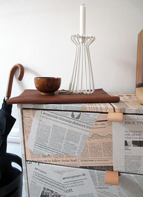 Newspaper Decoupage Furniture Technique3