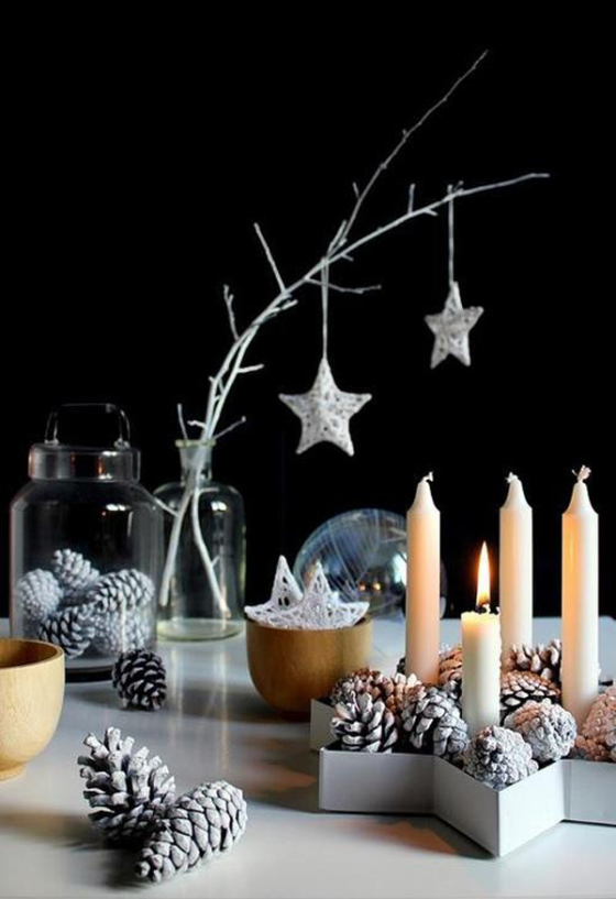 Natural and simple Christmas center decor ideas1