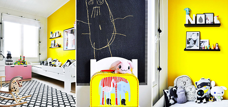 Children's room in yellow and pink