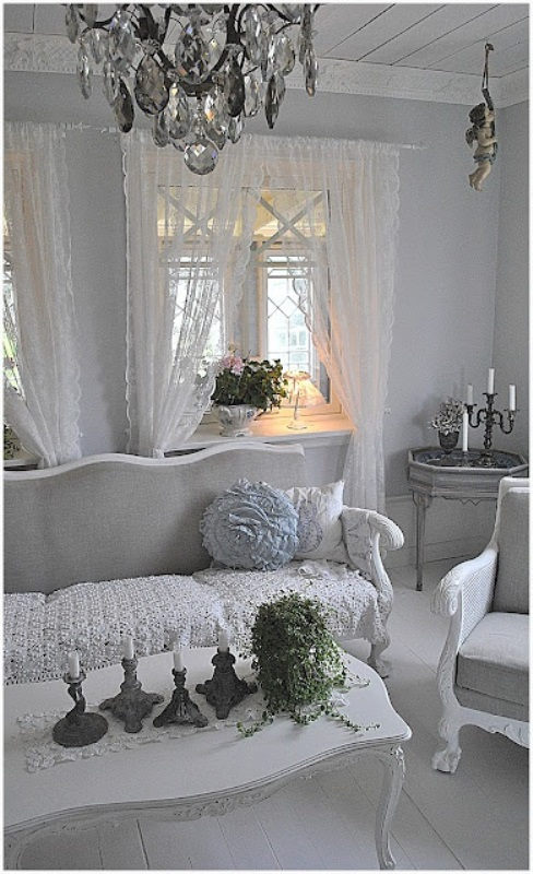 French and chic home decor ideas my desired home for Grey shabby chic living room ideas