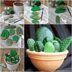Cactus Planter made of  pebbles2