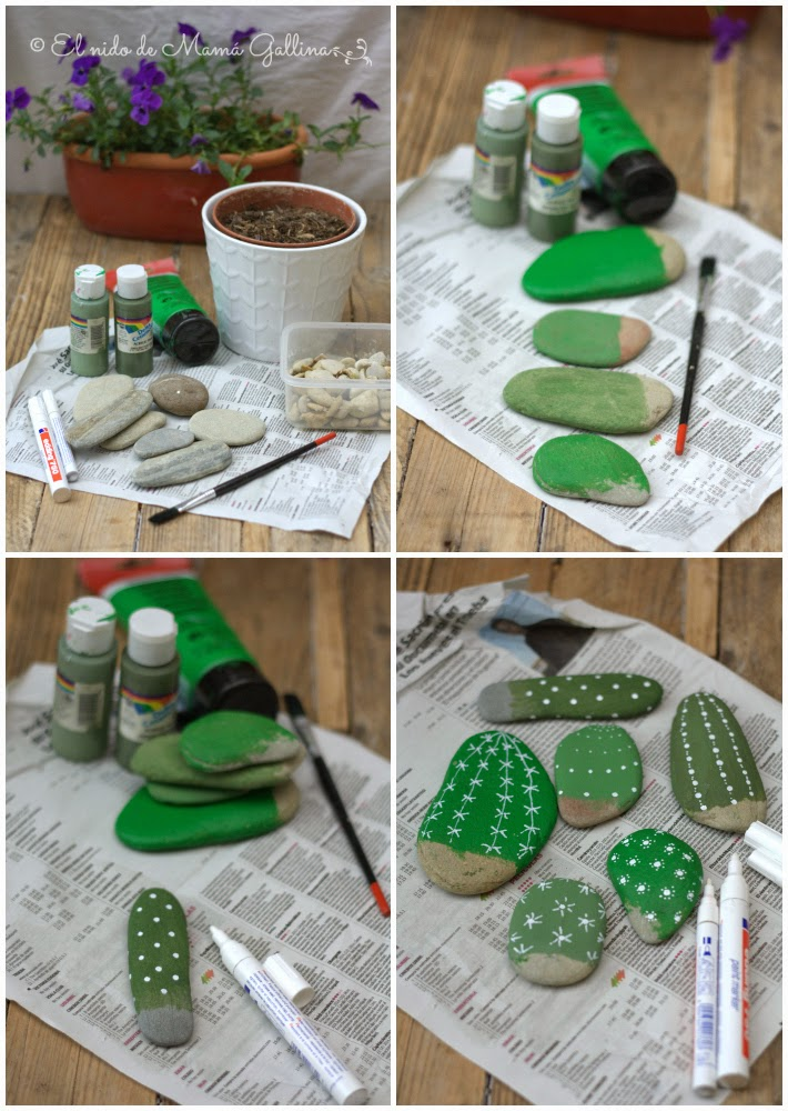Cactus Planter made of  pebbles3