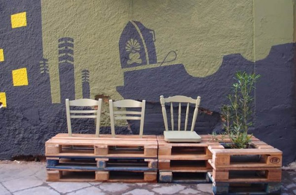 Street art conversion with pallets, plants and painting5
