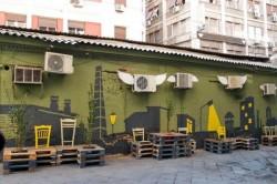 Street art conversion with pallets, plants and painting8