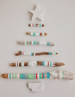 Christmas tree ideas from log and branches