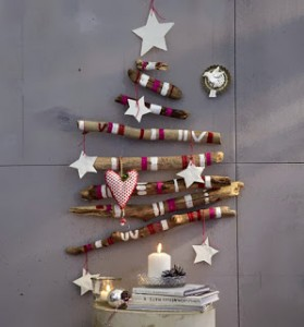 Christmas tree ideas from log and branches12
