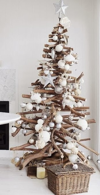 Christmas tree ideas from log and branches8