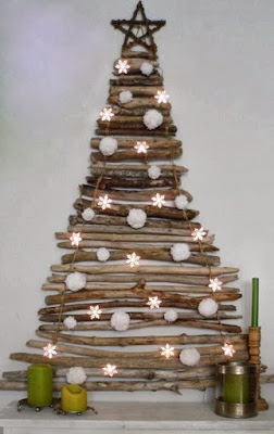 Christmas tree ideas from log and branches9