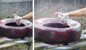 Plant containers from old car tires9