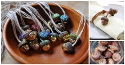 decorative autumn crafts with acorns