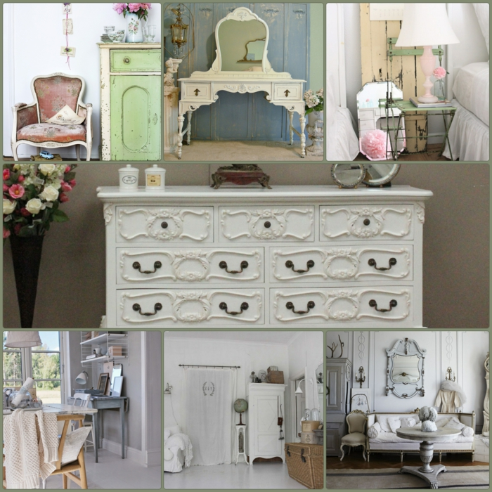 Shabby Chic, retro and industrial styles