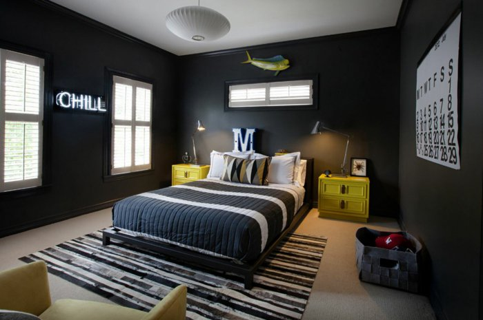 wall decoration ideas in dark shades36