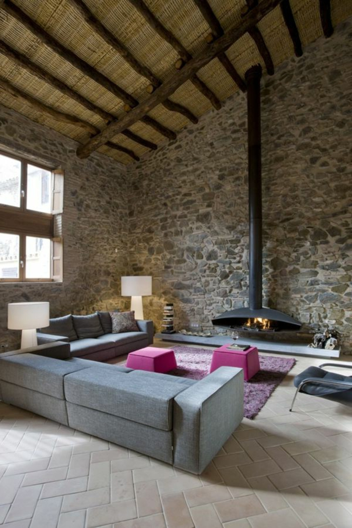 57 exposed stone wall ideas for a modern interior my for Decoration pierre interieur