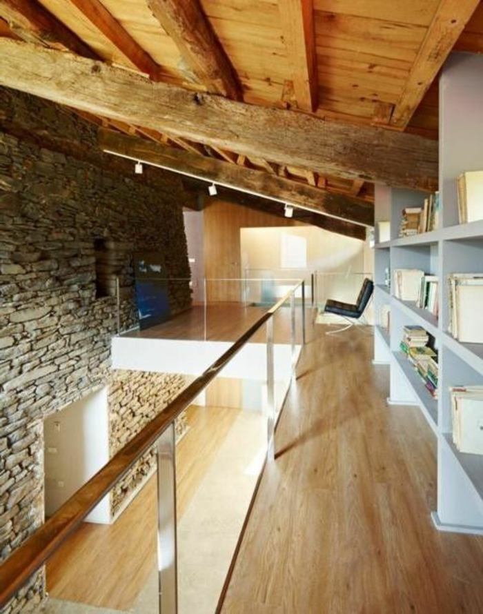 Exposed stone wall ideas50