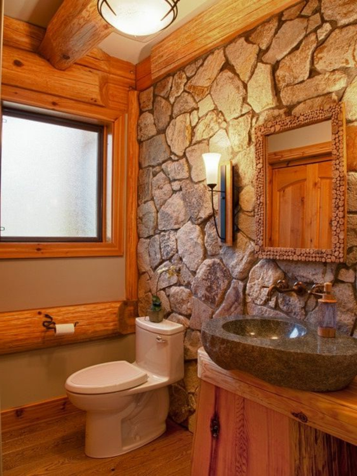 Exposed stone wall ideas53