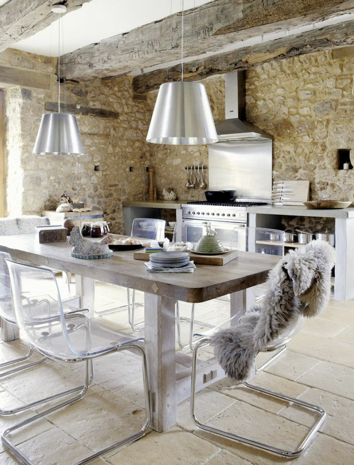 57 exposed stone wall ideas for a modern interior my - Table cuisine avec chaise ...