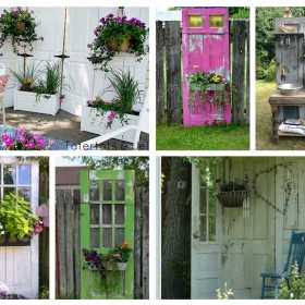 Decorate garden with recycling old doors