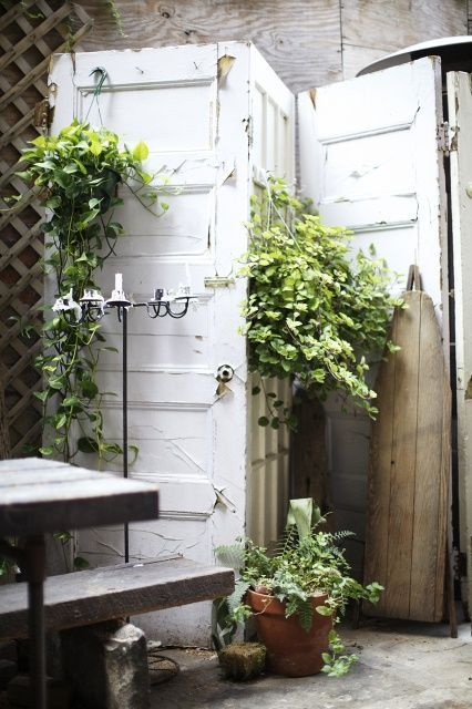 Decorate garden with recycling old doors13