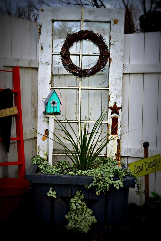 Decorate garden with recycling old doors16
