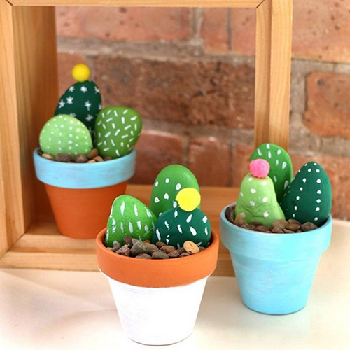 Diy Cactus from stones7