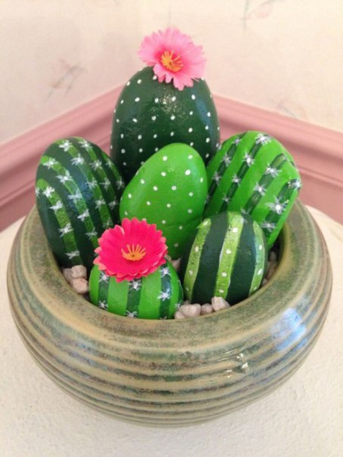 Diy Cactus from stones9
