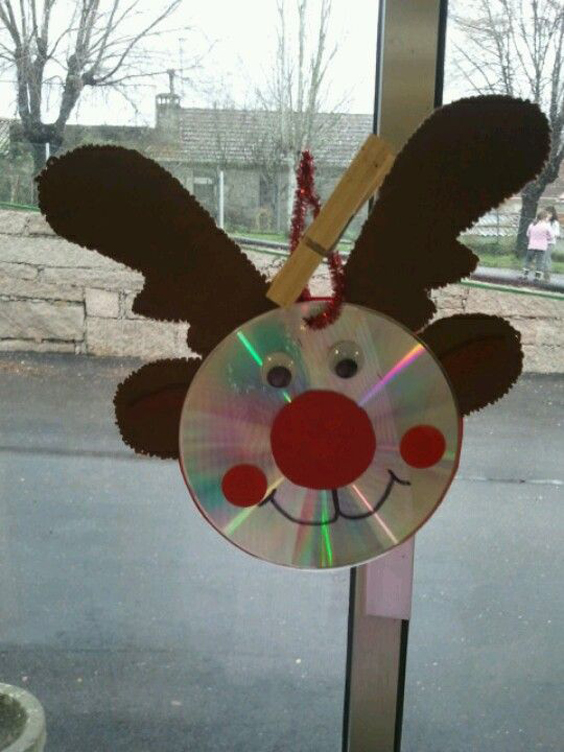 11 great ideas for christmas crafts with cd my desired home - Cd decorados de navidad ...