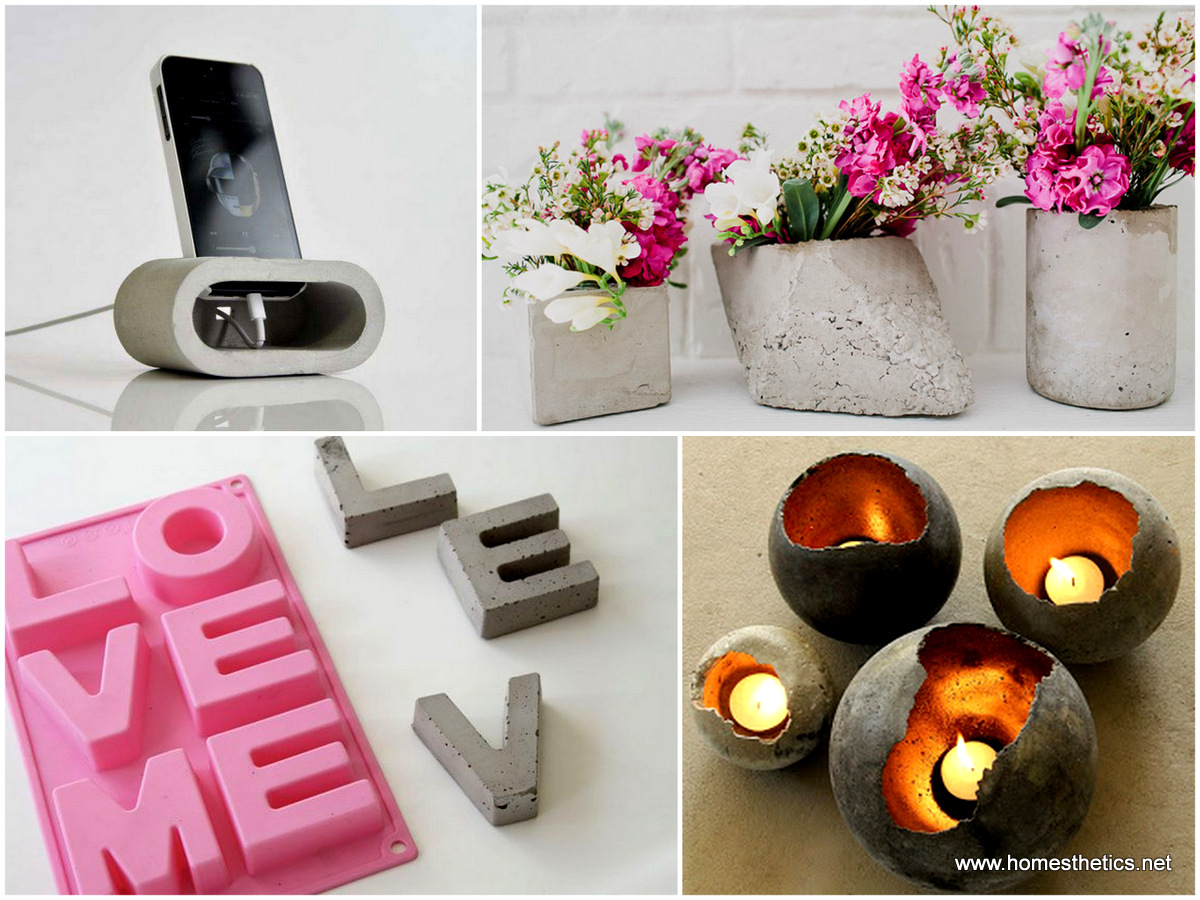 30 diy decorative ideas with cement to freshen up your for Diy handicraft items