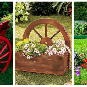 Decorations made from wagon wheels