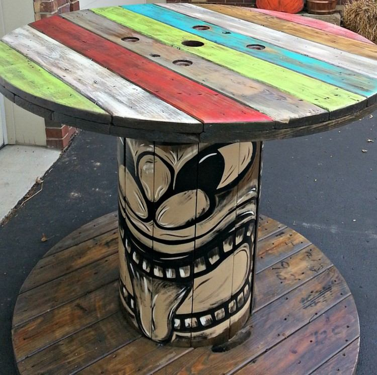 coffee table from wire spools (22)