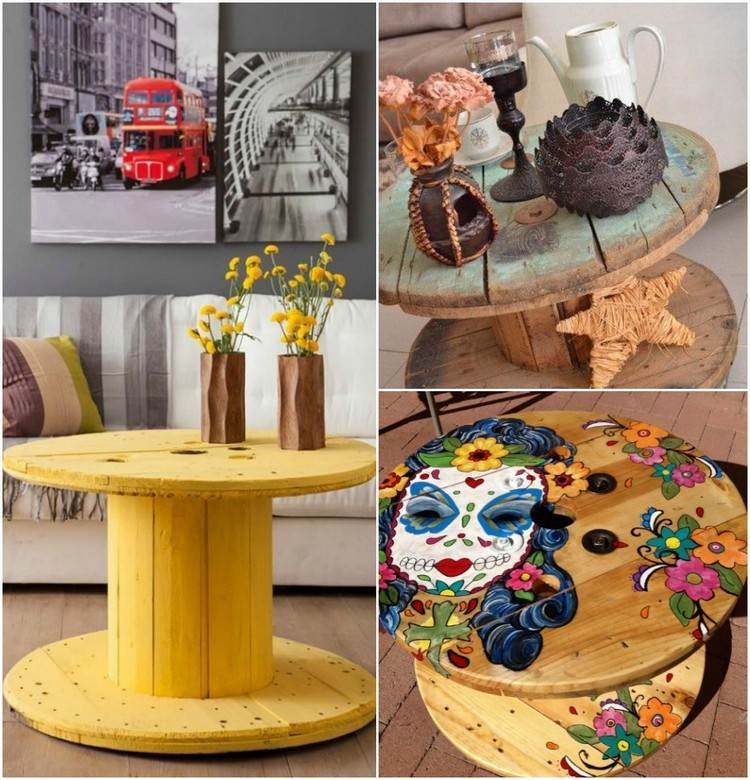 coffee table from wire spools (3)