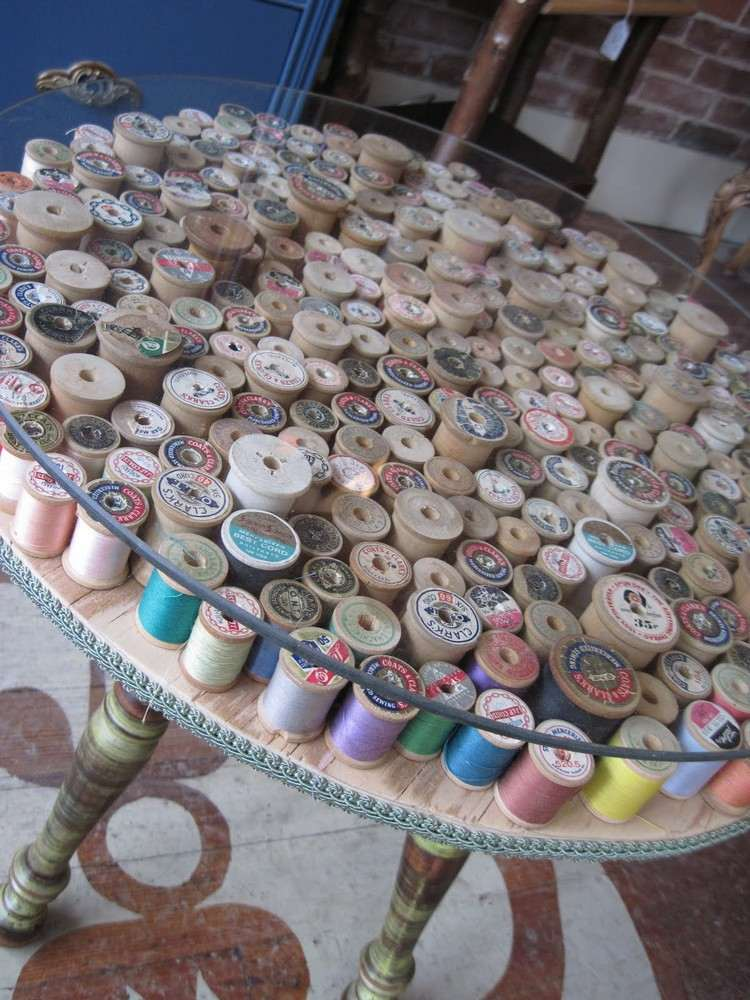 coffee table from wire spools (8)