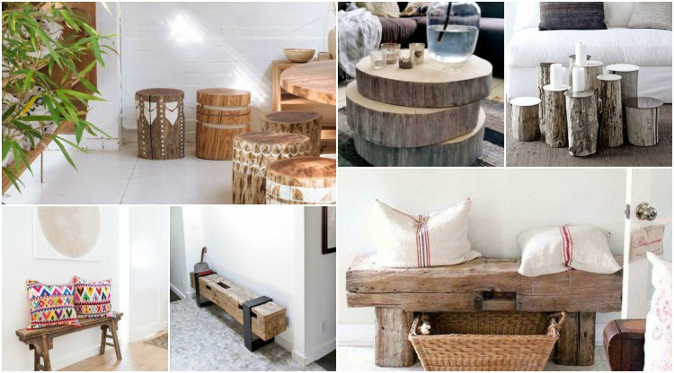 Decorate with benches and natural wood logs